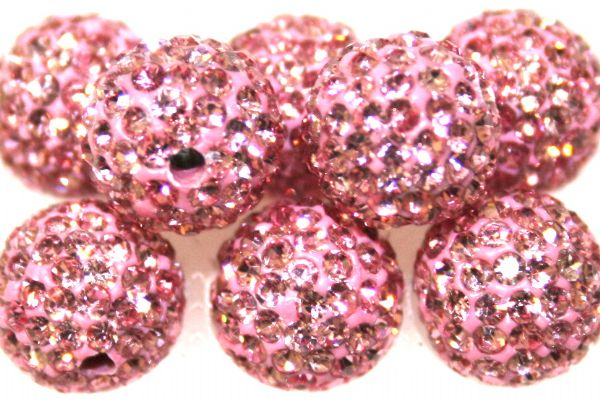 10mm Baby Pink 115 Stone Pave Crystal Beads- 2 Hole PCB10-115-011